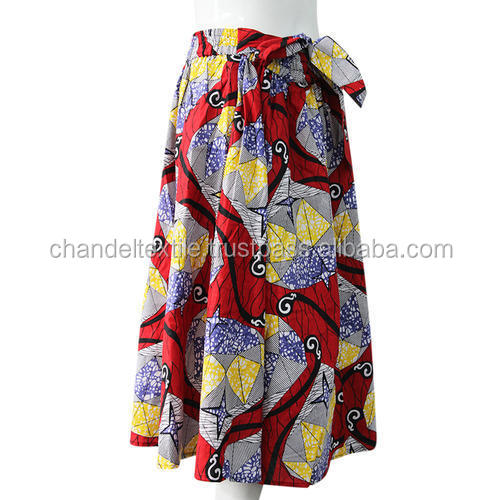 African wax cotton print belt Skirt Maxi Women African Hippie High Waist Skater Flared Pleated short Skirt Dress fashion skirts