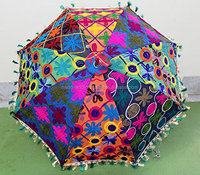 Indian Vintage Cotton Parasol Indian Hand Embroidered Mirror handmade Umbrellas Sun Umbrella Hippie Boho Bohemian Beach Umbrella