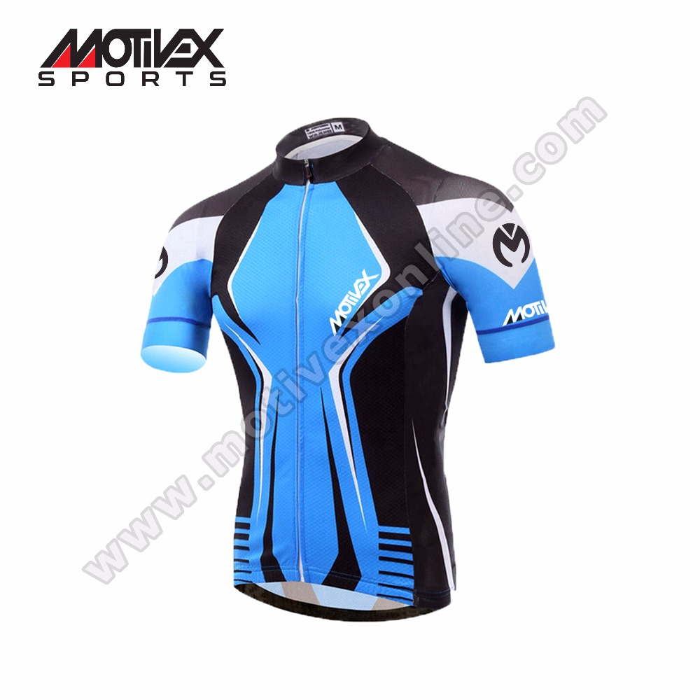 2017 Men's Blue Cycling Jersey Bike Jersey short sleeve top / Team bicycle