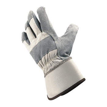 Gray Colored Cowhide Leather Working Gloves