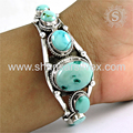 Fabulous design sky turquoise gemstone bangle handmade 925 sterling silver jewellery manufacturer