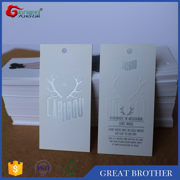 custom design white/ivory printed glossy boad paper card hang tags for garments/shoes/bags/machine parts
