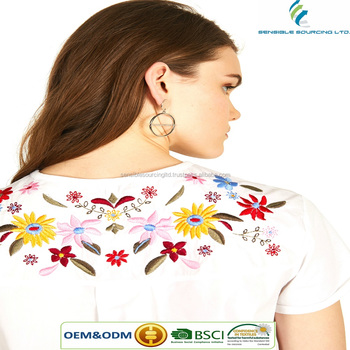 Ladies T-shirt with floral embroidery Bangladeshi Supplier