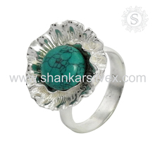 Hot fashion design sky turquoise ring silver jewelry 925 sterling solid silver jewellery wholesale supplier
