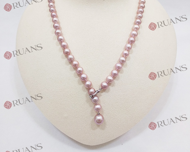 Unique Purple Pearl Necklace With 18K Clasp and Diamonds