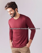Maroon Men's T-shirt Round Neck 100% cotton long sleeve