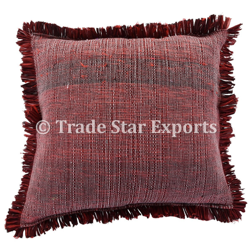 Traditional Handloom Indian Art Handmade Rug Pillow Case Home Decorative Cushion Cover