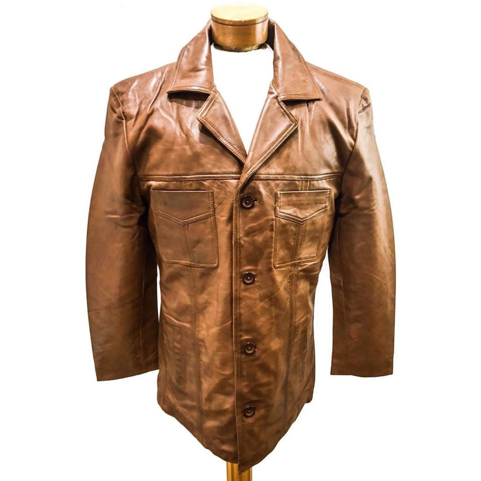 Mens Italian Style Sheep Leather Long Button Coat Jacket