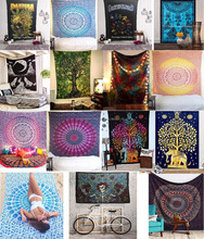 INDIAN 100% COTTON BED SHEET WALL TAPESTRY SINGLE TAPESTRY INDIAN BEDDING HIPPIE BED SPREAD HIPPIE TAPESTRIES