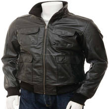 100% Cow leather pilot bomber custom jacket