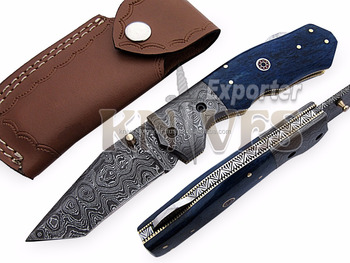 Custom Handmade Damascus Steel Folding Tanto Knife with Stained Bone Handle