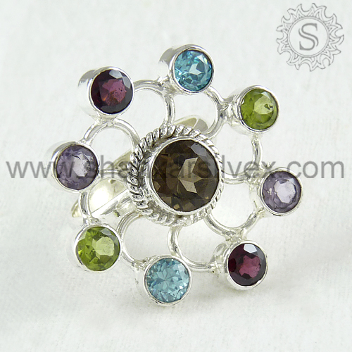 Marvellous beauty design 925 sterling multi gemstone silver ring jewelry supplier handmade india