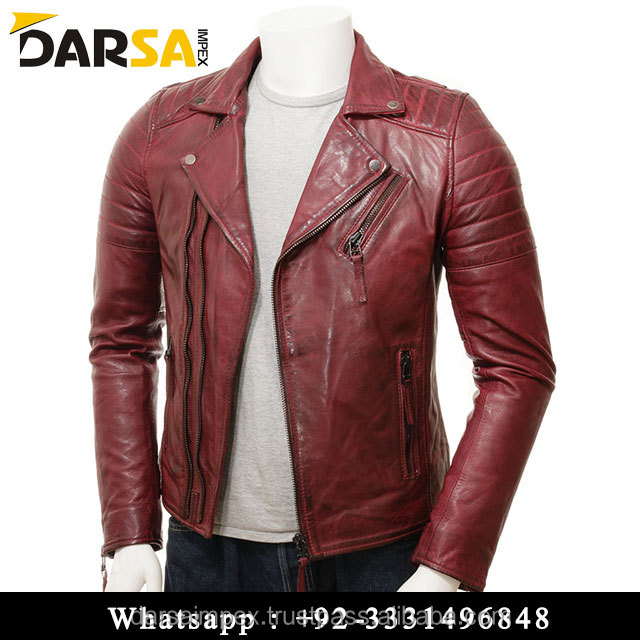 Factory OEM Zipper Up Best Price High Quality Collar Leather Jackets For Men