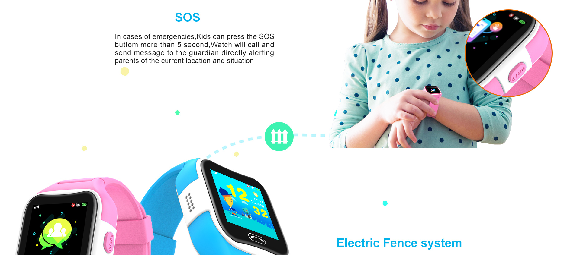 Best sales child tracker watch with class forbidden to use and SOS button