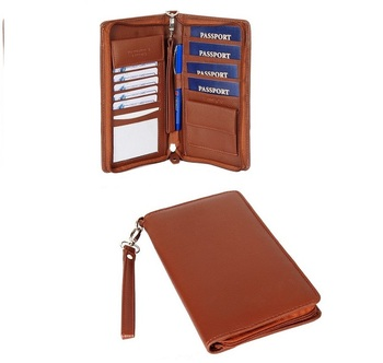 Top grain genuine leather travel organizer wallet with passport holder card holder slots
