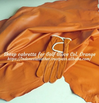 GENUINE FINISHED LEATHER SHEEP CABRETTA FOR GOLF GLOVE COLOR ORANGE