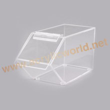 Wholesale automatic closing system acrylic bin/transparent perspex bulk candy display