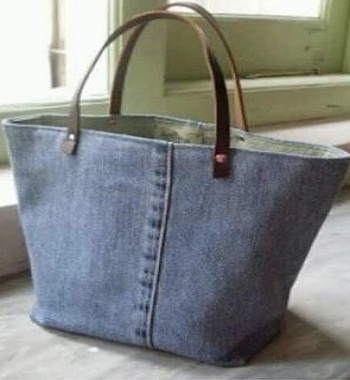 Recycle Denim Bag, Denim Tote Bag, Original Leather handle denim Tote Bag
