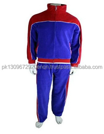 red and royal blue velvet suit with embroidered logo