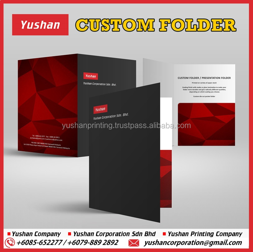 Top Quality 2-Pocket A4 or A5 size Presentation Folder Printing, Flyers and Business Cards Slit Available