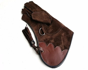 Right Hand Brown Suede Leather Falconry Gloves