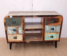 Indian Antique Reclaimed Wooden TV Stand Cabinet