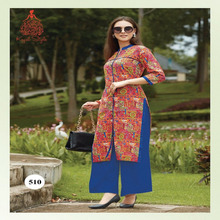 Red Multi & Blue Color Cotton Lawn Printed Knee Lenght Kurti