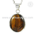Flashy tiger eye gemstone pendant handmade 925 sterling silver jewelry online exporter