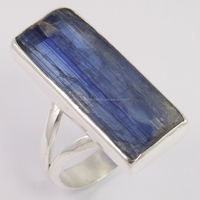 Bezel Setting Blue Kyanite Ring Rough Gemstone 925 Sterling Silver, Earthmined Untreated Raw stone