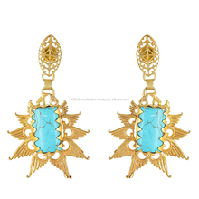 New Design Turquoise Stone Jewelry 24k Gold Plated Studs Earrings