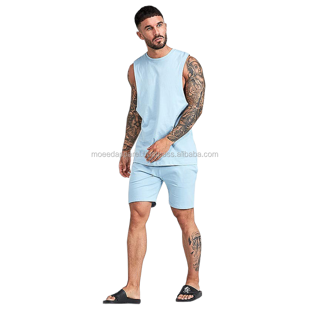 TS-300204 Light Blue 100% Cotton Jersey T-Shirts and Shorts Twinsets