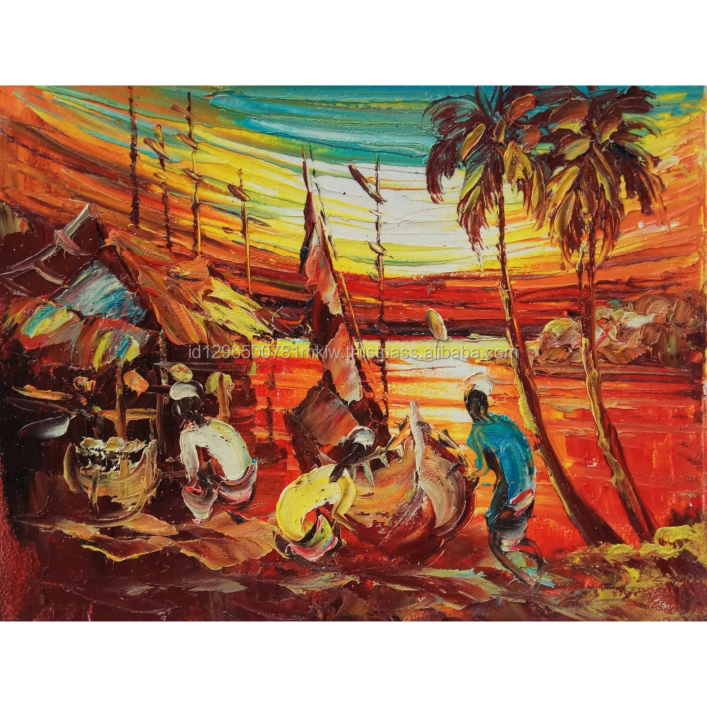Wholesale Price High Quality Handmade Canvas Modern Sunset Fishing Village Painting Wall Art