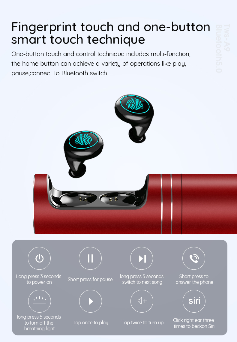Oblique in-ear style earbuds Binaural talk wireless earbuds with in-ear style Bluetooth 5.0 and touch operation