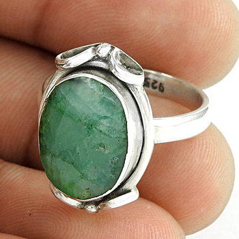 Emerald gemstone ring 925 sterling silver wholesale jewelry handmade silver rings