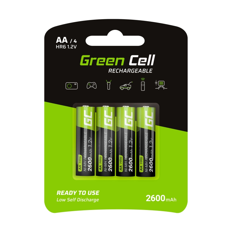 4x AA rechargeable batteries R6 2600mAh Green Cell