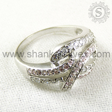 Promotional gift designer ring 925 sterling silver pink cz white cz gemstone ring wholesale jewellery supplier