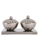 Silver Glass Crystal Metal Sugar Dry Fruit Table Decor Bowl With Led And Tray Set