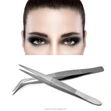 Professional Eyelash Extension 2PcsSet StraightCurved Nail Tweezers Eyelash Extension Tweezers Pointed Clip Eyebrow Tweezer Make