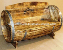 Wooden Barrel Style Sofa Bench Garden Bench