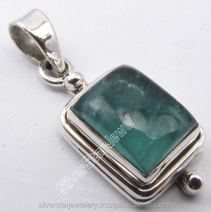 "925 STERLING Silver Unseen GREEN APATITE Stone OXIDIZED Pendant Lockets 1.1"" WELL MADE"