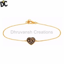 Pave Diamond and Blue Sapphire Heart Design Bracelet Gold Plated Silver Chain Bracelets Supplier