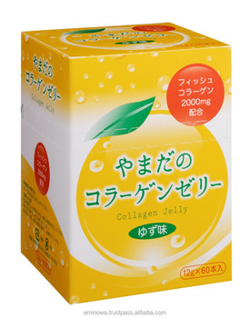 Collagen Jelly, Yuzu 60 sticks box, beautiful skin, hair, joints, peptide collagen, OEM, low MOQ. Made in Japan