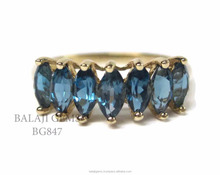 Cheap Price Natural Blue Topaz Marquise Shaped Gemstone 925 Sterling Silver Vintage Ring Jewelry