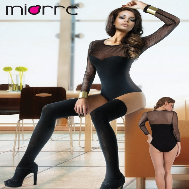 MIORRE OEM WOMEN'S NEW 2017 COLLECTION ONE PIECE ELEGANT TULLE DETAILED HOT BLACK BODYSUIT