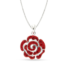 High quality Rose crystal silver pendant for women
