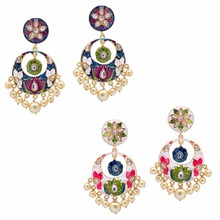 Jaipur Mart Gold Plated Kundan Meenakari Work Multi Color With Imitation Pearls Earrings Set of 2 Pairs Earrings For Girls, For