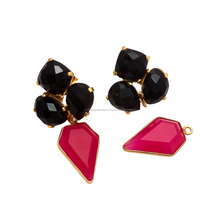 New Style Fuchsia Chalcedony Drop Earring Prong Gold Plated Black Onyx Gemstone stud Earring