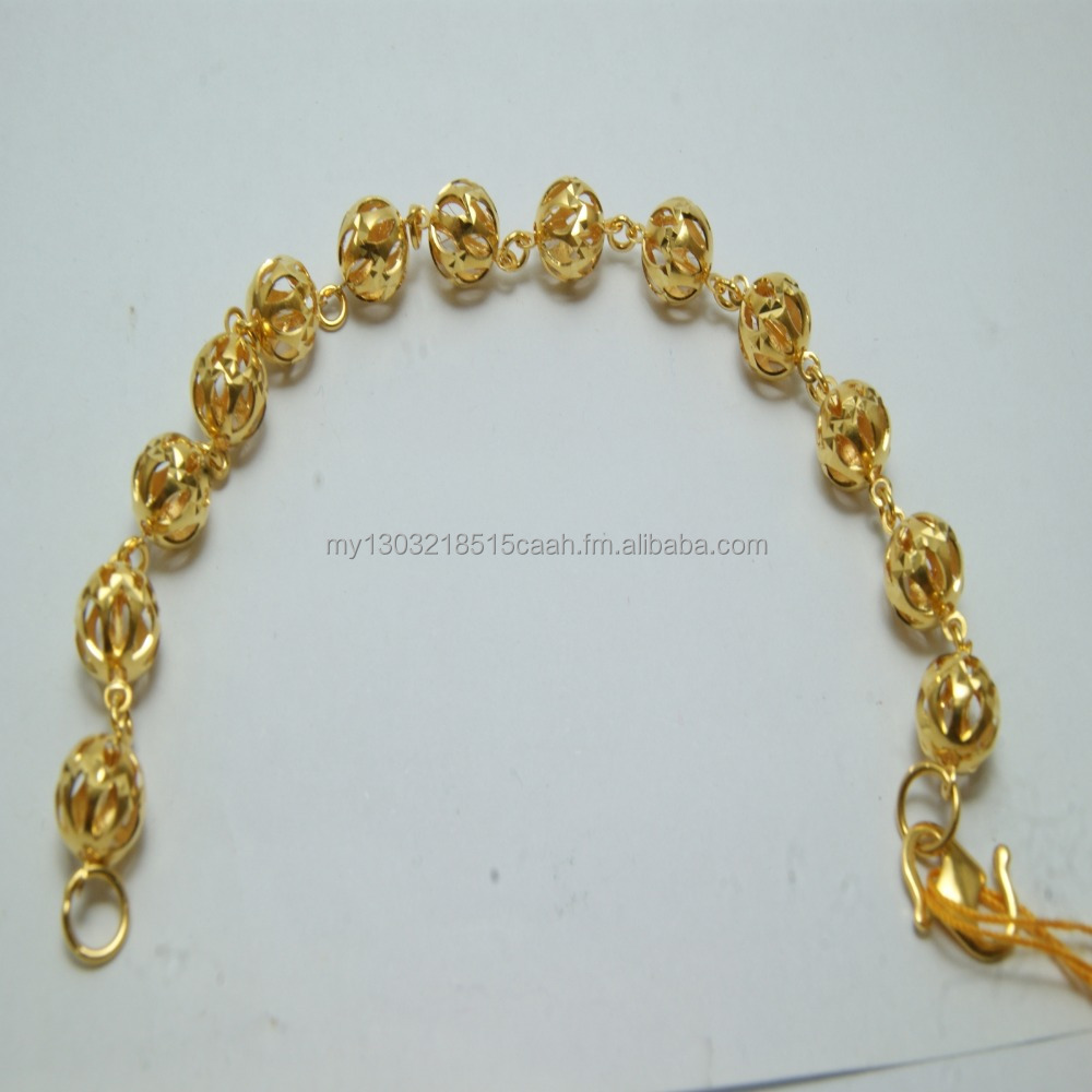 22K Solid Yellow Gold With Elegant Ball Link Women Bracelet