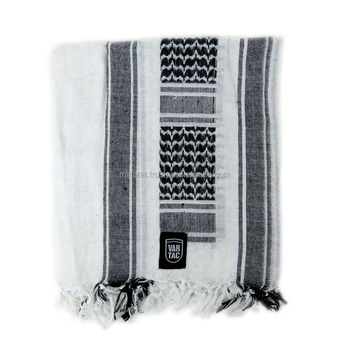Black n White Military Shemagh Arab Tactical Desert Shemagh KeffIyeh Scarf Wrap 100 % Cotton