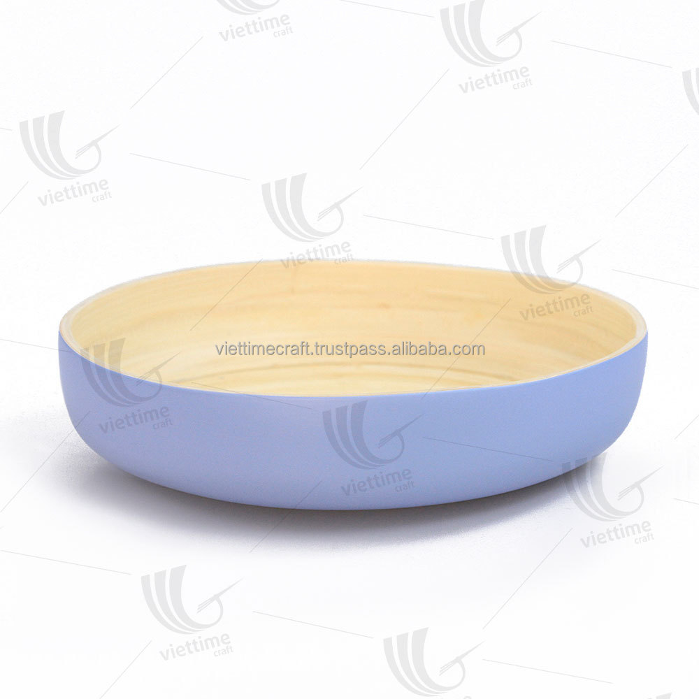 Spun bamboo white tray with hold handle, round tray, handicraft in Vietnam